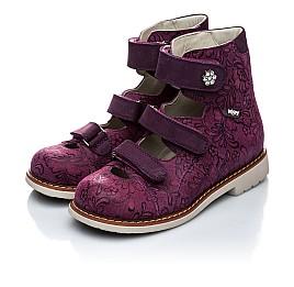 Детские ортопедические туфли (с высоким берцем) Woopy Orthopedic фиолетовый для девочек натуральная кожа размер - (1116) Фото 3