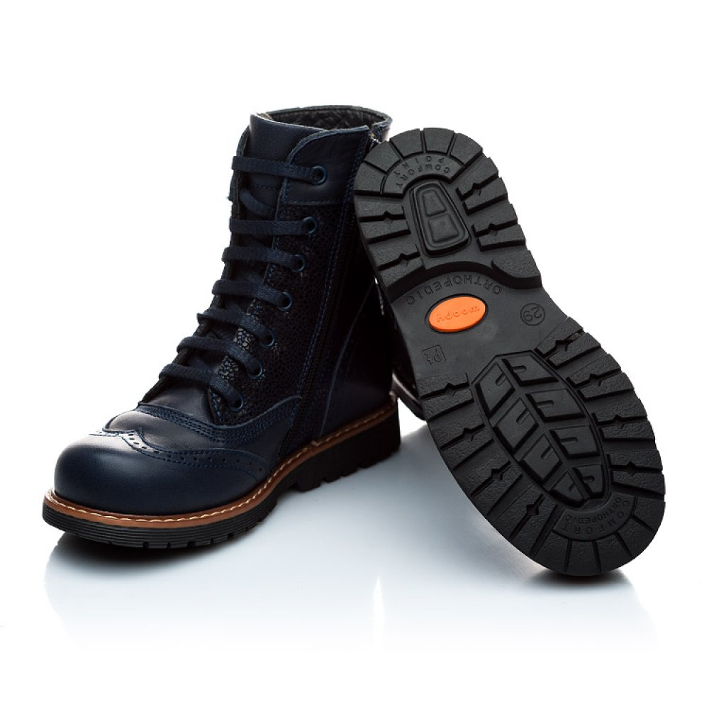 Детские демисезонные ботинки Woopy Orthopedic темно-синие для девочек натуральная кожа размер 21-36 (1123) Фото 4