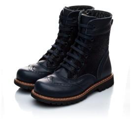 Детские демисезонные ботинки Woopy Orthopedic темно-синие для девочек натуральная кожа размер 21-21 (1123) Фото 5