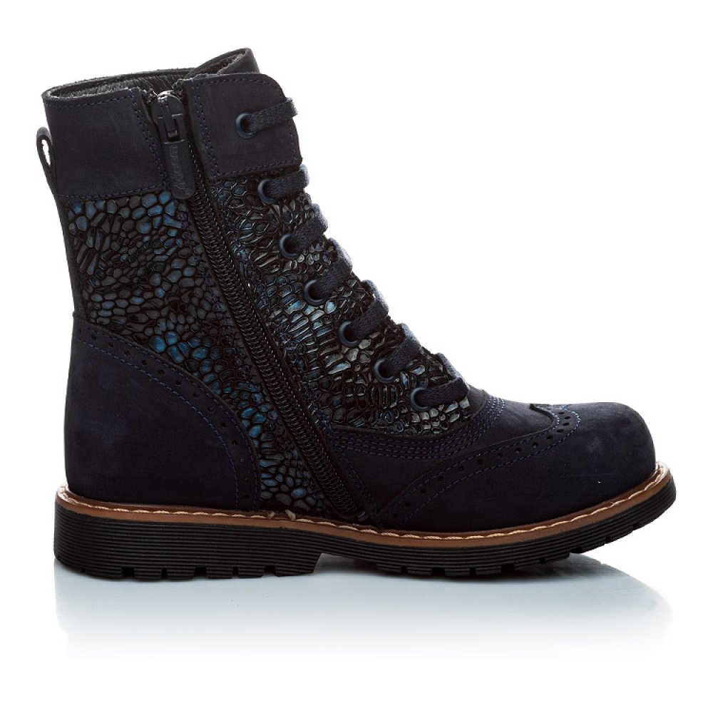 Детские демисезонные ботинки Woopy Orthopedic темно-синие для девочек натуральный нубук размер 21-39 (1125) Фото 3