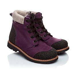 Детские зимние ботинки на меху Woopy Orthopedic фиолетовый для девочек нубук-ойл ( это нубук, который в процессе производства защитили от влаги). размер - (1547) Фото 1