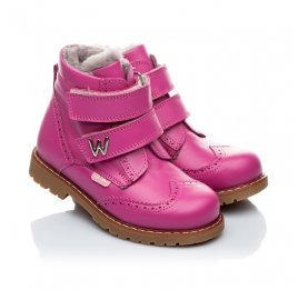 Детские зимние ботинки на меху Woopy Orthopedic розовый для девочек натуральная кожа размер - (1553) Фото 1