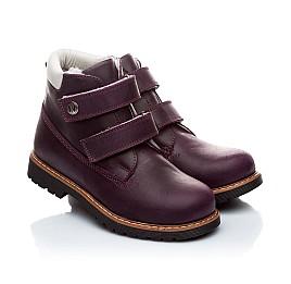 Детские зимние ботинки на меху Woopy Orthopedic темно-фиолетовые для девочек нубук-ойл ( это нубук, который в процессе производства защитили от влаги). размер - (1559) Фото 1