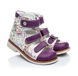 Детские ортопедические туфли Woopy Orthopedic белый, фиолетовый для девочек натуральная кожа размер - (1594) Фото 1