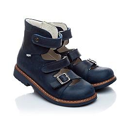 Детские ортопедические туфли (с высоким берцем) Woopy Orthopedic синий для мальчиков нубук размер - (1605) Фото 1