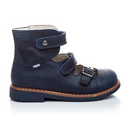 Детские ортопедические туфли (с высоким берцем) Woopy Orthopedic синий для мальчиков нубук размер - (1605) Фото 2