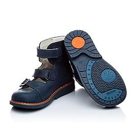 Детские ортопедические туфли (с высоким берцем) Woopy Orthopedic синий для мальчиков нубук размер - (1605) Фото 3