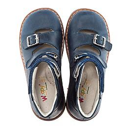 Детские ортопедические туфли (с высоким берцем) Woopy Orthopedic синий для мальчиков нубук размер - (1605) Фото 4