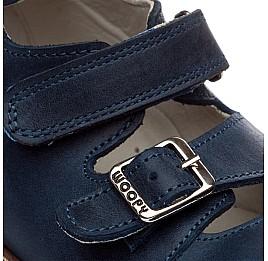 Детские ортопедические туфли (с высоким берцем) Woopy Orthopedic синий для мальчиков нубук размер - (1605) Фото 5
