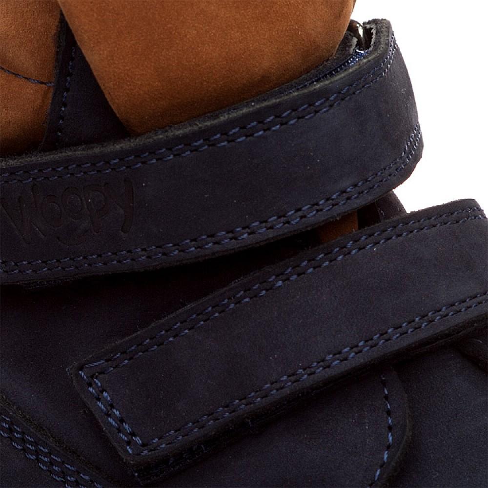 Детские демисезонные ботинки Woopy Orthopedic темно-синие для девочек натуральный нубук размер 18-36 (1608) Фото 3