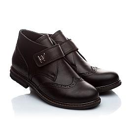 Детские демисезонные ботинки (внутри кожа) Woopy Orthopedic черный для мальчиков натуральная кожа размер - (1654) Фото 1