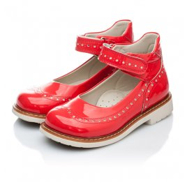 Детские ортопедичні туфлі Woopy Orthopedic коралловые для девочек натуральная лаковая кожа размер 21-21 (1818) Фото 4