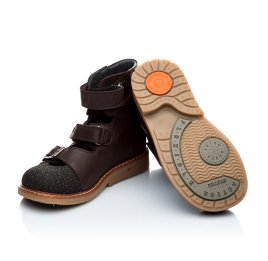 Детские ортопедические туфли (с высоким берцем) Woopy Orthopedic коричневые для мальчиков натуральная кожа размер 18-22 (1857) Фото 2