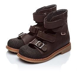 Детские ортопедические туфли (с высоким берцем) Woopy Orthopedic коричневые для мальчиков натуральная кожа размер 18-22 (1857) Фото 3
