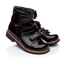Детские ортопедические туфли Woopy Orthopedic черные для девочек натуральная лаковая кожа размер - (1881) Фото 1