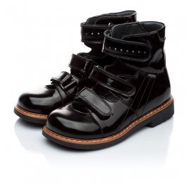 Детские ортопедические туфли Woopy Orthopedic черные для девочек натуральная лаковая кожа размер - (1881) Фото 3