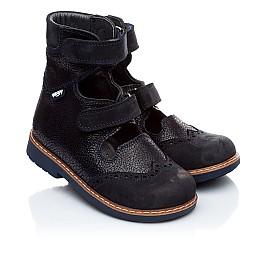 Детские ортопедические туфли (с высоким берцем) Woopy Orthopedic темно-синие для мальчиков натуральная кожа и нубук размер 21-22 (1884) Фото 1