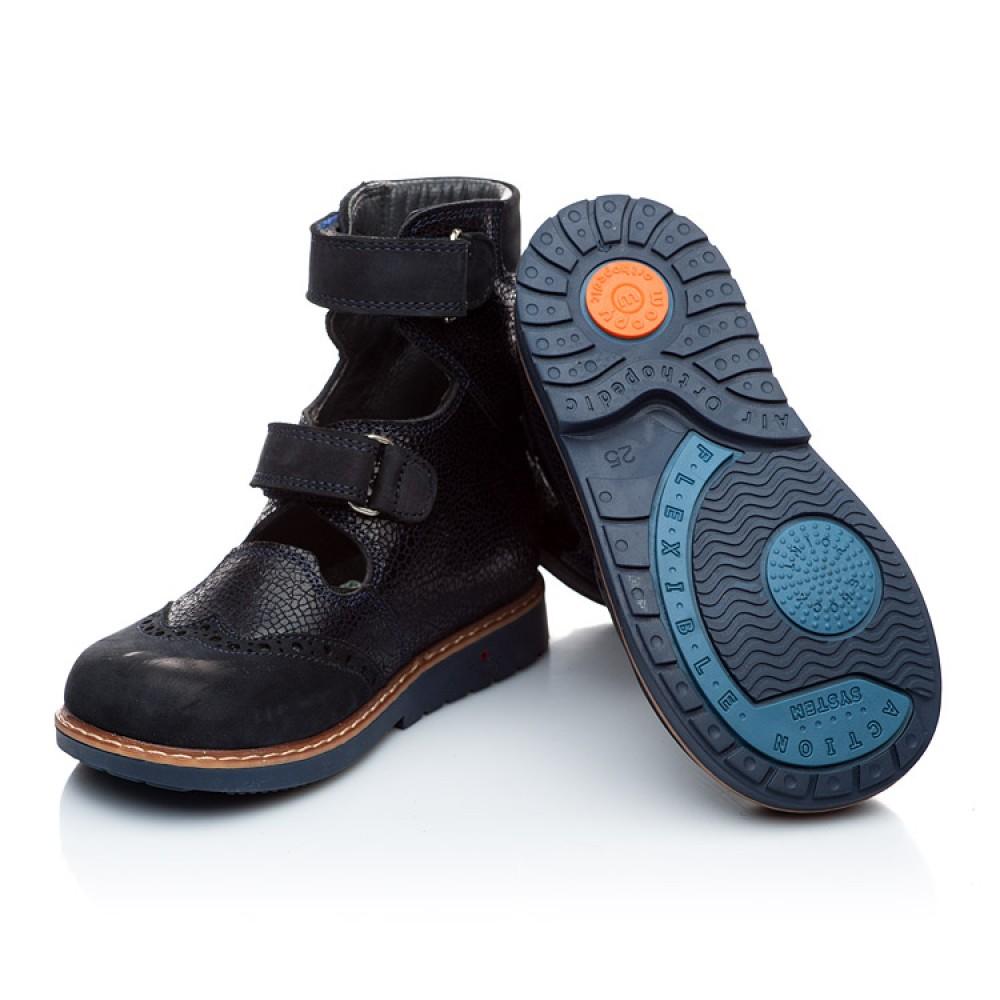 Детские ортопедические туфли (с высоким берцем) Woopy Orthopedic темно-синие для мальчиков натуральная кожа и нубук размер 21-32 (1884) Фото 2