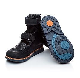 Детские ортопедические туфли (с высоким берцем) Woopy Orthopedic темно-синие для мальчиков натуральная кожа и нубук размер 21-22 (1884) Фото 2