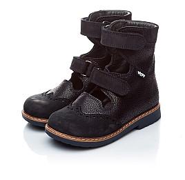 Детские ортопедические туфли (с высоким берцем) Woopy Orthopedic темно-синие для мальчиков натуральная кожа и нубук размер 21-22 (1884) Фото 3