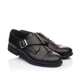 Детские туфли (застежка на резинке) Woopy Orthopedic черные для мальчиков натуральная кожа размер 31-39 (1904) Фото 1