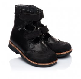 Детские ортопедические туфли (с высоким берцем) Woopy Orthopedic черные для мальчиков натуральная кожа и нубук размер 21-22 (1910) Фото 1