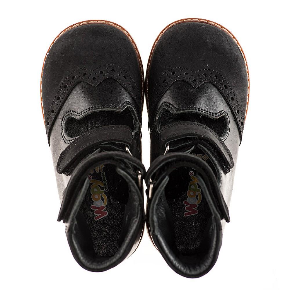 Детские ортопедические туфли (с высоким берцем) Woopy Orthopedic черные для мальчиков натуральная кожа и нубук размер 21-36 (1910) Фото 2