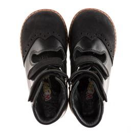 Детские ортопедические туфли (с высоким берцем) Woopy Orthopedic черные для мальчиков натуральная кожа и нубук размер 21-22 (1910) Фото 2