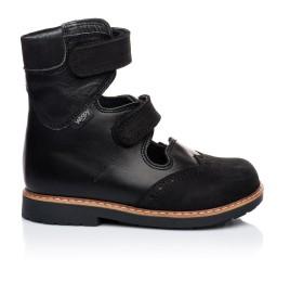Детские ортопедические туфли (с высоким берцем) Woopy Orthopedic черные для мальчиков натуральная кожа и нубук размер 21-22 (1910) Фото 3