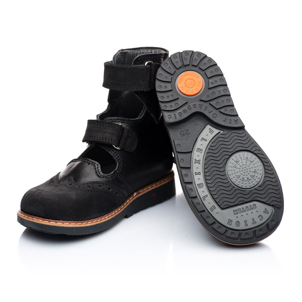 Детские ортопедические туфли (с высоким берцем) Woopy Orthopedic черные для мальчиков натуральная кожа и нубук размер 21-36 (1910) Фото 4