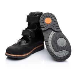 Детские ортопедические туфли (с высоким берцем) Woopy Orthopedic черные для мальчиков натуральная кожа и нубук размер 21-22 (1910) Фото 4