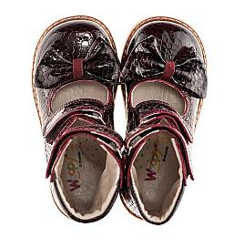 Детские ортопедические туфли (с высоким берцем) Woopy Orthopedic бордовый для девочек натуральная лаковая кожа размер - (1912) Фото 2