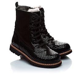 Детские зимние ботинки на меху Woopy Orthopedic черный для девочек нубук, лаковая кожа размер - (1920) Фото 1