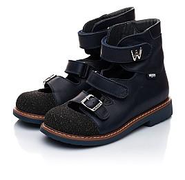 Детские ортопедические туфли (с высоким берцем) Woopy Orthopedic темно-синие для мальчиков натуральная кожа размер 18-21 (1929) Фото 5