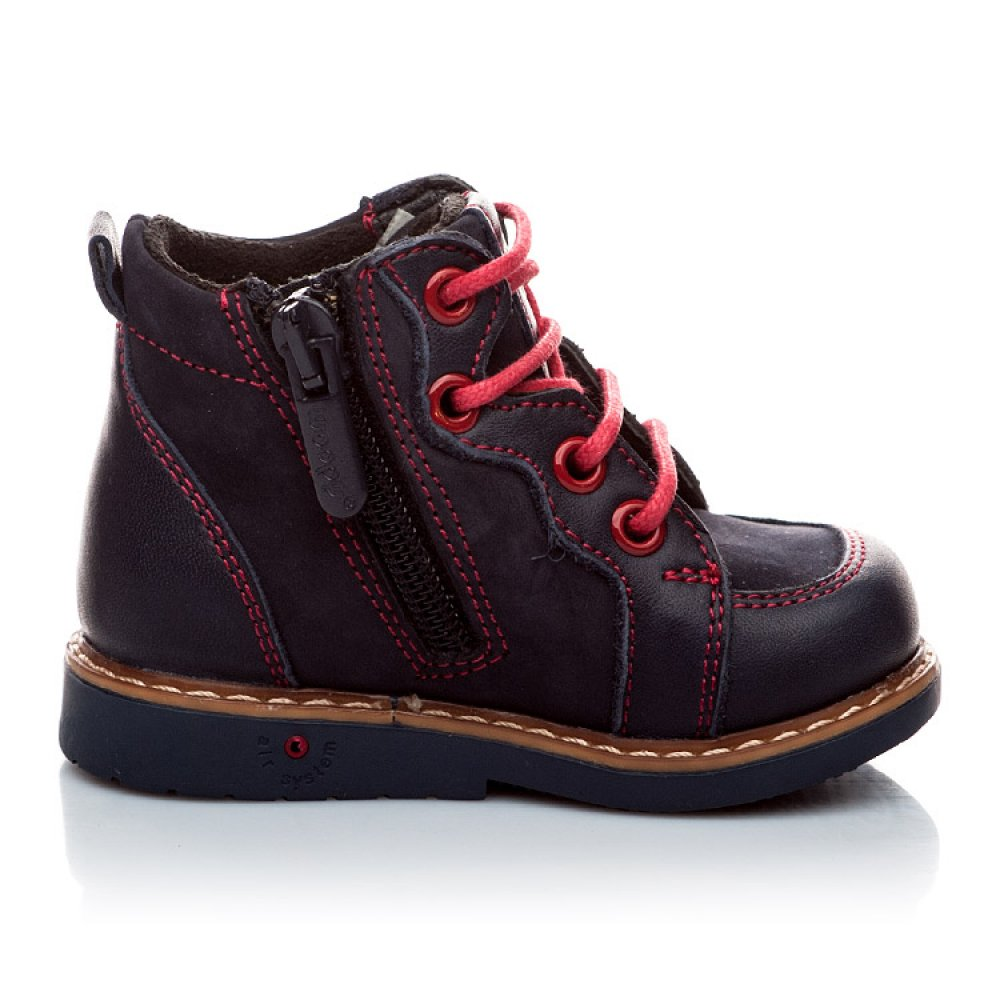 Детские демисезонные ботинки Woopy Orthopedic темно-синие для мальчиков натуральная кожа и нубук размер 18-30 (1965) Фото 2
