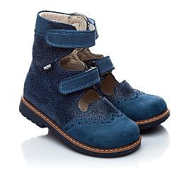 Детские ортопедические туфли (с высоким берцем) Woopy Orthopedic синие (джинсовые) для мальчиков натуральная кожа и нубук размер 21-22 (1975) Фото 1