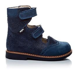 Детские ортопедические туфли (с высоким берцем) Woopy Orthopedic синие (джинсовые) для мальчиков натуральная кожа и нубук размер 21-22 (1975) Фото 2