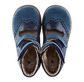Детские ортопедические туфли (с высоким берцем) Woopy Orthopedic синие (джинсовые) для мальчиков натуральная кожа и нубук размер 21-22 (1975) Фото 3