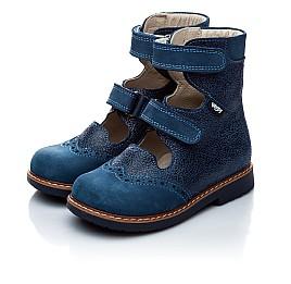 Детские ортопедические туфли (с высоким берцем) Woopy Orthopedic синие (джинсовые) для мальчиков натуральная кожа и нубук размер 21-22 (1975) Фото 4