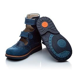 Детские ортопедические туфли (с высоким берцем) Woopy Orthopedic синие (джинсовые) для мальчиков натуральная кожа и нубук размер 21-22 (1975) Фото 5