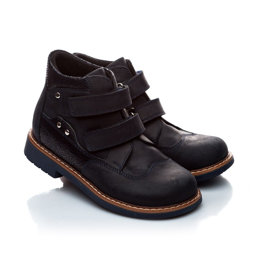 Детские демисезонные ботинки Woopy Orthopedic темно-синие для мальчиков натуральный нубук размер 18-30 (1978) Фото 1