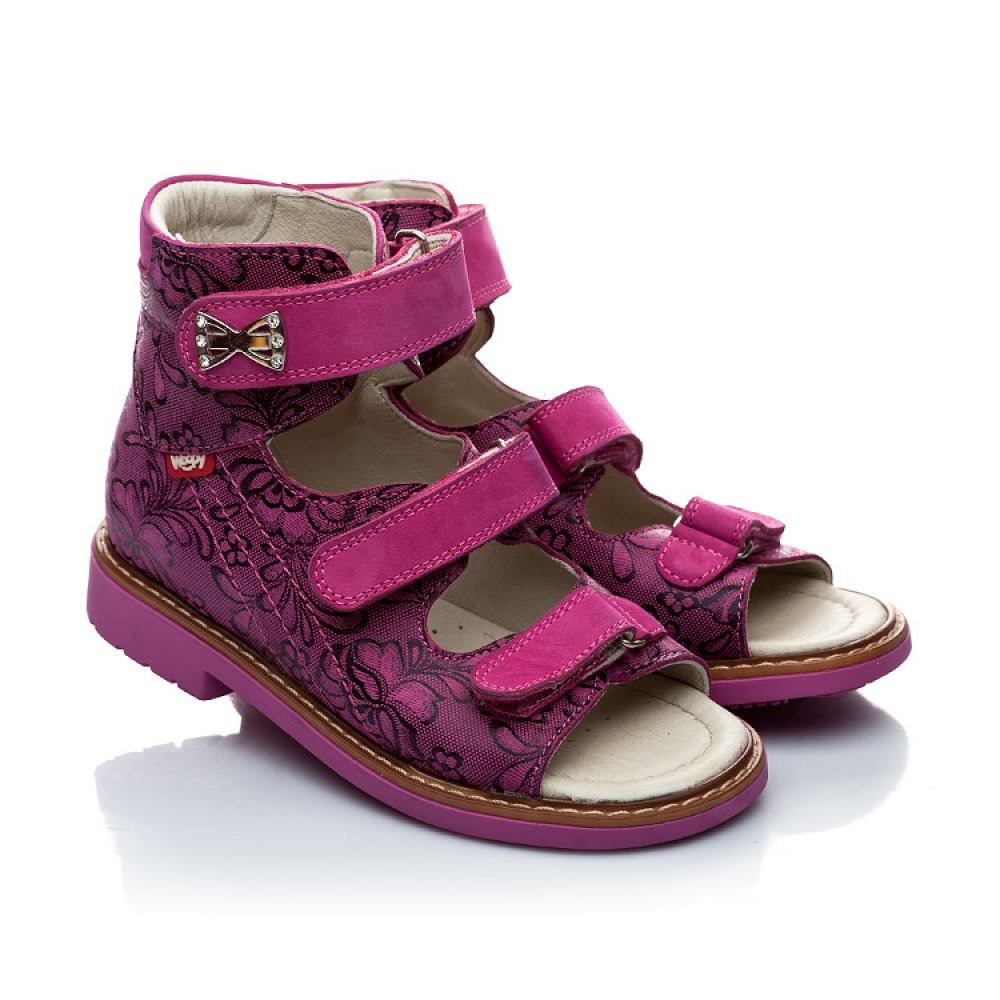 Детские ортопедические босоножки (с высоким берцем) Woopy Orthopedic фиолетовые, разноцветные для девочек натуральная кожа размер 21-33 (2008) Фото 1