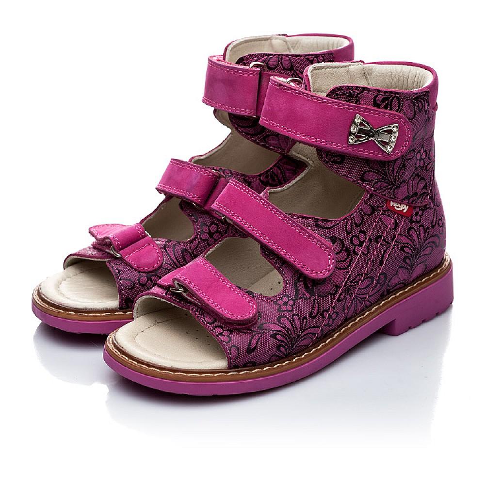 Детские ортопедические босоножки (с высоким берцем) Woopy Orthopedic фиолетовые, разноцветные для девочек натуральная кожа размер 21-33 (2008) Фото 4