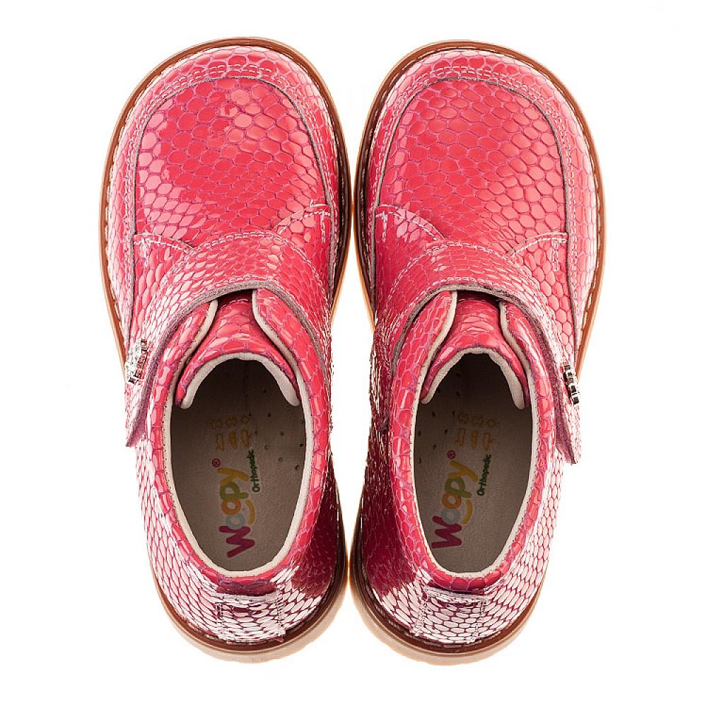 Детские демисезонные ботинки Woopy Orthopedic коралловые для девочек лаковая кожа размер 18-36 (2052) Фото 5