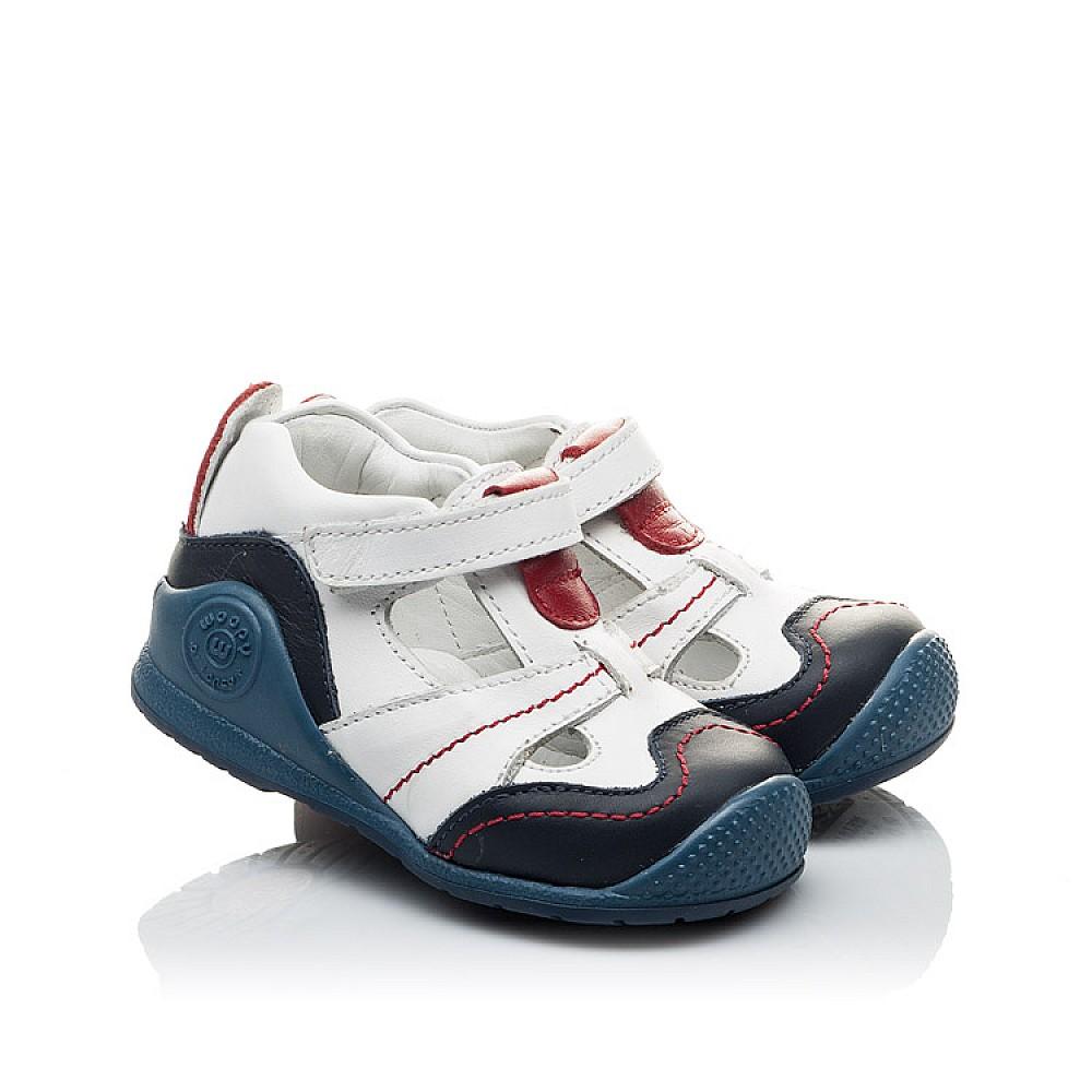 Детские закрытые ортопедические босоножки Woopy Orthopedic белые, синие для мальчиков натуральная кожа размер 18-21 (2059) Фото 1