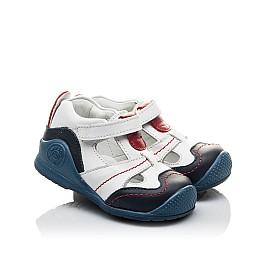 Детские закрытые ортопедические босоножки Woopy Orthopedic белые, синие для мальчиков натуральная кожа размер 18-18 (2059) Фото 1