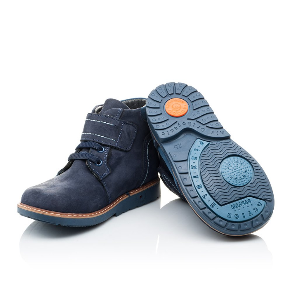 Детские демисезонные ботинки (подкладка кожа) Woopy Orthopedic синие для мальчиков натуральный нубук размер 18-25 (2071) Фото 2