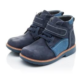 Детские демисезонные ботинки (подкладка кожа) Woopy Orthopedic синие для мальчиков натуральный нубук размер 18-19 (2071) Фото 3
