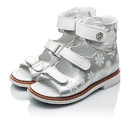 Детские ортопедические босоножки (с высоким берцем) Woopy Orthopedic белые, серебро для девочек натуральная кожа размер 18-21 (2086) Фото 4