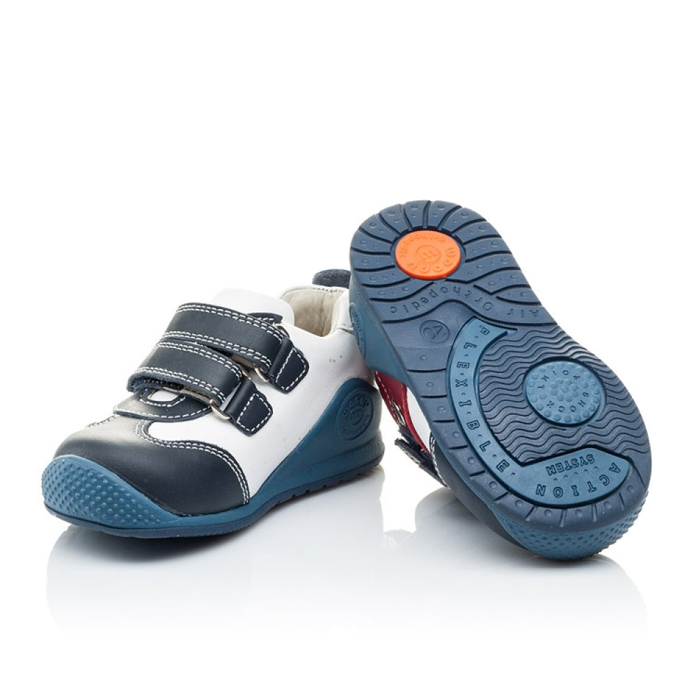 Детские кроссовки Woopy Orthopedic синие, белые, красные для мальчиков натуральная кожа размер 18-21 (2089) Фото 2